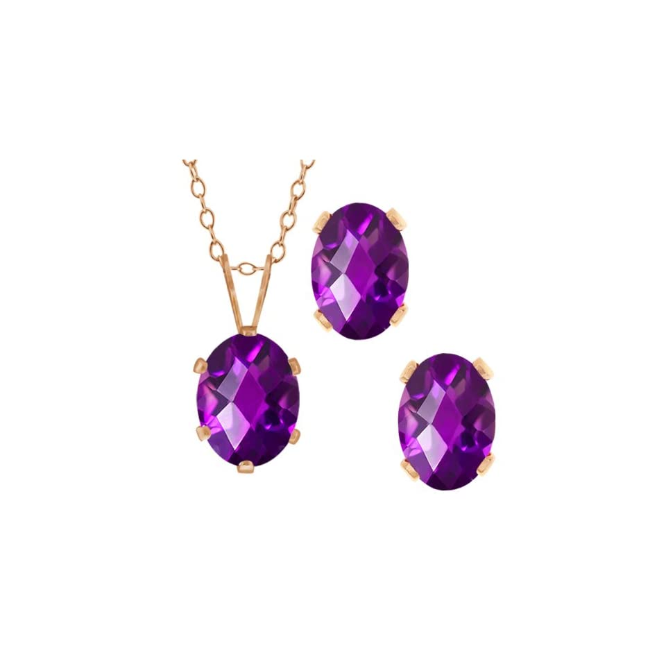 2.50 Ct Checkerboard Purple Amethyst Gold Plated Silver Pendant Earrings Set