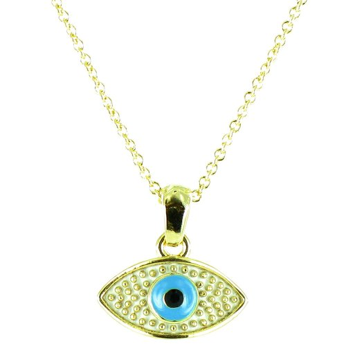 White And Blue On Gold Plated Small Evil Eye Necklace front-760843