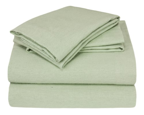Elite Home Winter Nights Flannel 100-Percent Cotton 4-Piece Sheet Set, Full, Sage front-226711