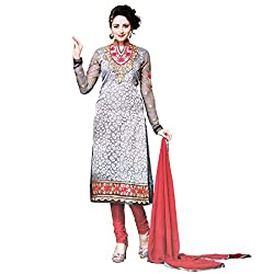 Zubeda Women's Brasso Patch Work Semi Stitched Dress Material (AB280_Grey_Free Size)