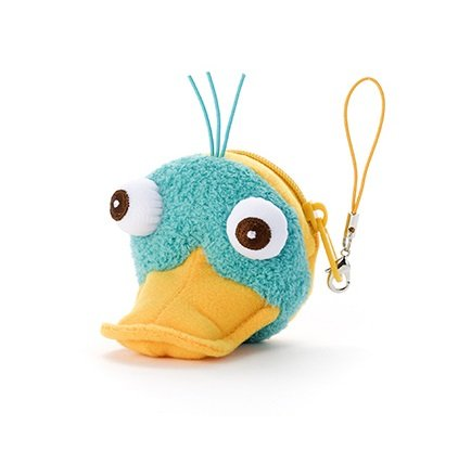 Japan Disney Official Phineas and Ferb - Perry the Platypus Cute Stuffed Wallet Mascot with Elastic String Coin Keeper Green Plush Toy Collection Smartphone Key Chain Charm Accessory Wonderful (Pocket Laser Light Show)