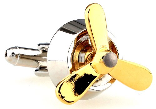 Aviation Silver with Working Gold Spin Prop Airplane Pilot Cufflinks Cuff Links
