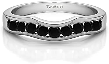 Silver Classic Contour Style Wedding Band with Black Diamonds 05 ct twt