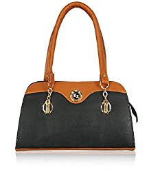 Fantosy Women's Handbag Black and Tan (FNB-582)