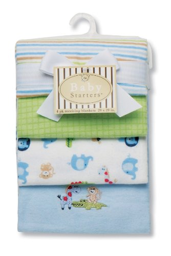 Baby Starters Safari Receiving Blanket, Blue, 4 Pack