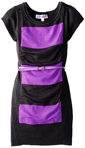 Derek Heart Big Girls' Rouched Sweater Dress, Black/Purple, Small/7/8