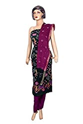 Women's Cotton Unstitched Salwar Suit Dress Material Embroidered Bandhaj Work (Dress_657_FreeSize_Multicolor)