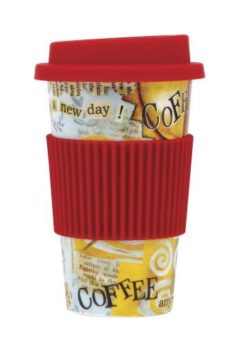 C.R. Gibson Porcelain-To-Go Travel Coffee Mug/Cup, Coffee Time, Red
