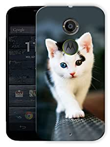 "Walking Cat Printed Designer Mobile Back Cover For ""Motorola Moto X2"" By Humor Gang (3D, Matte Finish, Premium Quality, Protective Snap On Slim Hard Phone Case, Multi Color)"