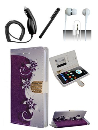 ZTE Grand X Max 2 Kirk Z988 Imperial Max Z963U Max Duo Z936VL Z962BL Purple Silver Vines Design Flap Pouch Luxury Magnetic Wallet Case + Car Charger + Free Stylus Pen + Free 3.5mm Earphone (Imperial Vine compare prices)