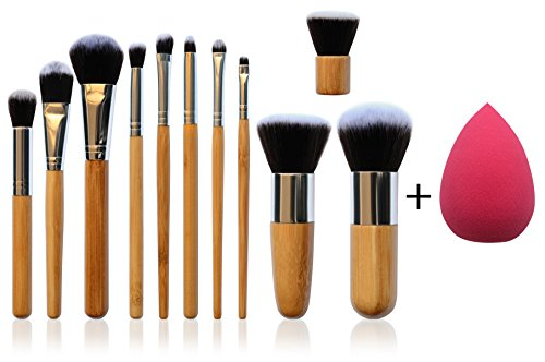 *NEW* 11 Piece Professional Makeup Brush Set with Premium Synthetic Hair and Natural Bamboo handles for Face, Cheeks and Eyes, plus includes a BONUS Complexion Beauty Blender!