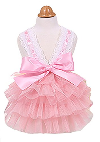 MaruPet Luxury Lace Camisole Tutu Dress Pet Bubble Skirt Pet Puppy Princess Dog Clothes Costume with Bowknit Pink S