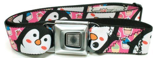 Buckle-Down Penguin Cupcakes Seatbelt Belt, One size fits most