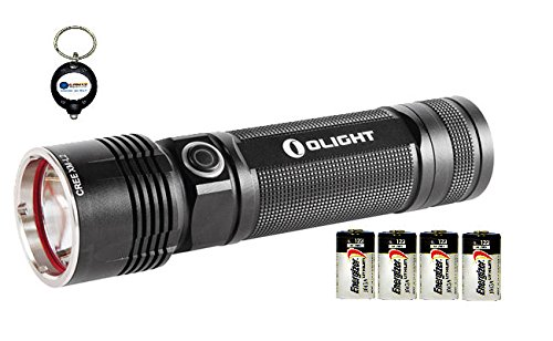 Olight R40 Seeker Xm-L2 1100 Lumens Led Flashlight Combo With 4X Energizer Cr123A Lithium 3V Battery Exp. 2023 Or Later And 1X Keychain Light
