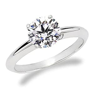 1.00 Ct Round Diamond Solitaire Engagement Ring, I, FL