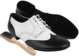 Very Fine Men\'s Salsa Ballroom Tango Latin Dance Shoes Style PP301 Bundle with Dance Shoe Wire Brush, Black and White Leather 10 M US Heel 1 Inch