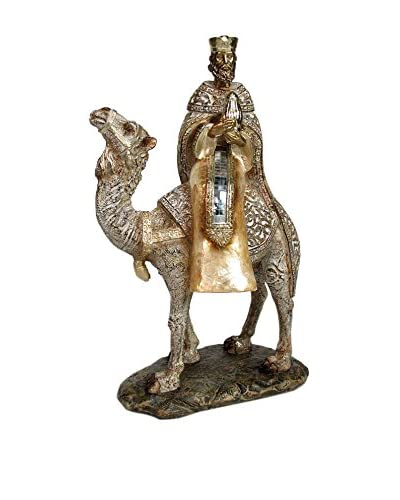 Figura Nacimiento Rey Camello Poliresina Dorado
