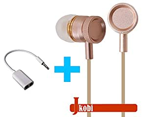 Value Combo Of Metal Body Volume Control Earphone Handsfree and Splitter Cable Compatible For Alcatel OneTouch Idol 3 (5.5) -Gold