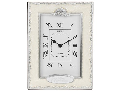 25th Silver Wedding Anniversary Quartz Mantel Clock By Haysom Interiors