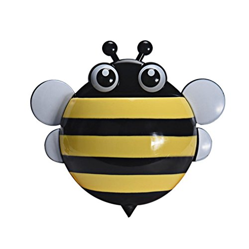 Oksale Cartoon Bee Powerful Wall Suction Hook Bathroom Organizer Toothbrush and Toothpaste Holder Mount Set with Sucker (Yellow)
