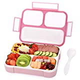 Bento Box for Girls Kids Leak-Proof, Momcozy 3 Compartments Lunch Containers for Girls Women BPA-Free Microwave & Dishwasher Safe, Pink