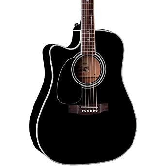 Takamine Pro Series EF341SC-LH Dreadnought Acoustic Electric Guitar, Black, Left Handed with Case