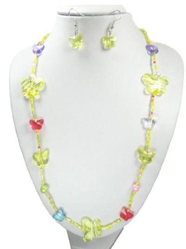 Yellow Bead And Butterfly Long Necklace And Earring Set