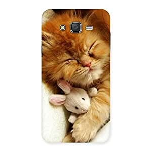 Sleeping Cat with Bunny Multicolor Back Case Cover for Galaxy J7