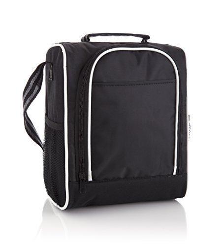 SanDD - Borsa termica per il pranzo, con pratica tracolla, colore: nero con interno bianco Una borsa termica elegante e professionale perfetta per picnic e per l'ufficio. Ideale per le attività all'aria aperta. Unisex, per grandi e piccini.