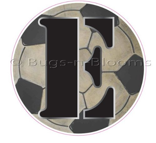 """E"" Soccer Ball Alphabet Letter Name Wall Sticker (5 1/2"" Diameter). Decal Letters For Children'S, Nursery & Baby'S Sport Room Decor, Baby Name Wall Letters, Boys Bedroom Wall Letter Decorations, Child'S Names, Sports Balls Mural Walls Decals Baby Shower"