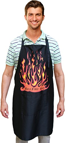 HellFire BBQ and Kitchen Apron, 2 Large Pockets, Extra Wide and Long, Black, Deluxe