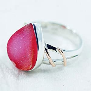 Sizzling Silver Ring With Agate Drusy Gemstone, Approx Gemstone Size 16-18Mm - Srng-7012