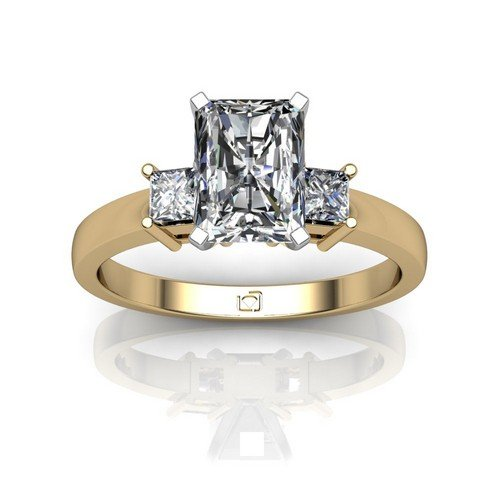 14Kt Yellow Simple Yet Sophisticated This Princess Cut Engagement Setting Compliments Any Sized Center Diamond 1/5 Ctw. This Item Includes A Free Cubic Zirconia Center In The Shape Shown.