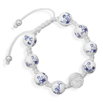 Adjustable Macrame Bracelet with Ceramic and Crystal Beads
