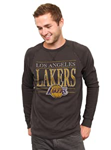 NBA Los Angeles Lakers Mens Vintage Solid Long Sleeve Fleece Shirt, Black Wash by Junk Food