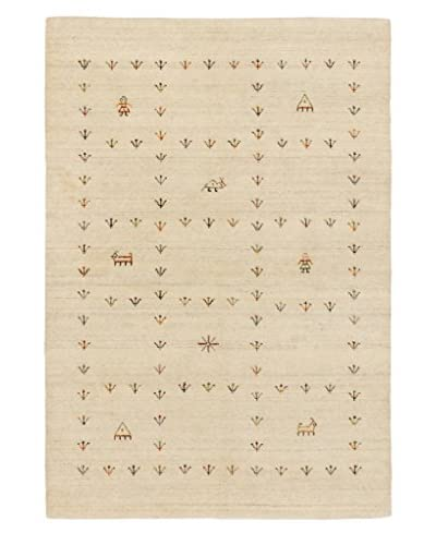 Hand-Knotted Kashkuli Gabbeh Rug, Cream, 4' x 5' 10