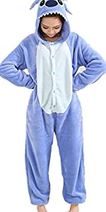 Angelina Unisex Plush Animal Onesies Pajamas #91158 Large Blue Stitch