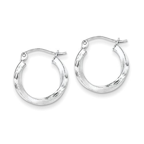 Sterling Silver Rhodium-Plated Satin Finish D/C Hoop Earrings