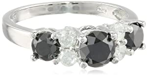 10k White Gold Black and White Diamond Ring (2 cttw, H-I Color, I2-I3 Clarity), Size 5