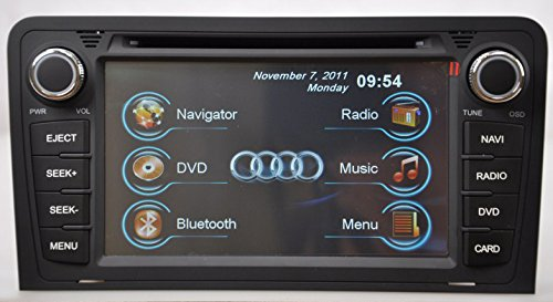 2009-2013 Audi A3 In-Dash Navigation Stereo Gps Dvd Cd Mp3 Avi Usb Sd Radio Bluetooth Hands-Free Steering Wheel Controls Touch Screen Ipod Iphone-Ready Av Receiver Video Audio Player Multimedia Infotainment System W/ Digital Tv Rear View Camera Option Dig