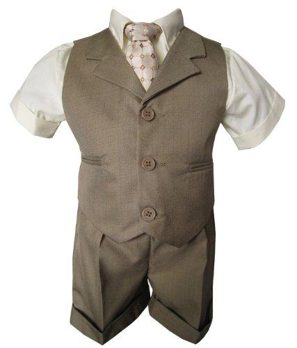G240 Natural Baby Toddler Boy Summer Suit Natural/Beige Vest Short Set (Medium (6-12 Months)) front-876808