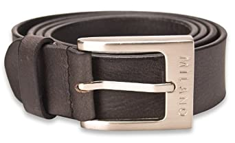 "Milano Mens Full Grain Leather Belt - 1.25"" (30mm) - Black and Brown # ML-2910 - Black, Large"