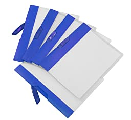 Storex Swing Clip Clear Poly Report Cover, Blue Stripe, Case of 18 (STX51254B18C)