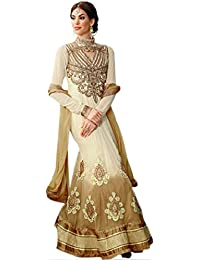 Exotic India Ivory And Beige Wedding Anarkali Suit With Embroidered Patc - Beige