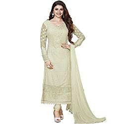 Fabtantra Womens Georgette Straight Dress Material (10152 _Silver _Free Size)