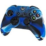 Housse de protection Assecure Pro en silicone souple camouflage bleu pour étui de manette Microsoft Xbox One en caoutchouc absorbeur de chocs avec poignée nervurée
