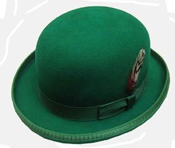 Amazon.com: St Patrick's Day Wool Felt Satin Lined Derby Hat, Green