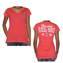 MLB Boston Red Sox Womens V-Neck Tee with Rhinestones (Vintage Look) Medium Red