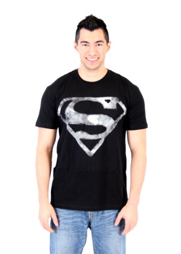 Superman Smoke Logo Shield Emblem Adult Black T-Shirt (Adult X-Large) (Superman T Shirt Emblem compare prices)