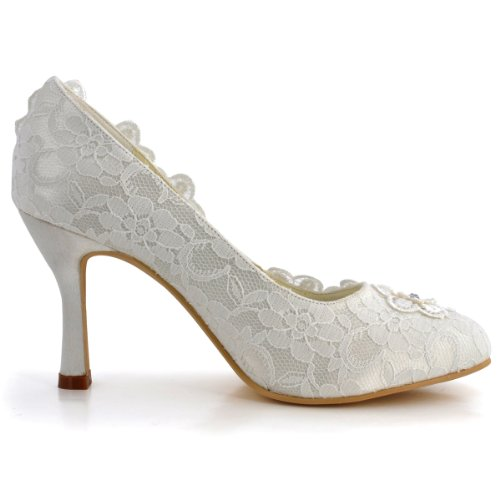 ElegantPark Women Vintage Closed Toe Pumps High Heel Flowers Lace Wedding Bridal Dress Shoes 3